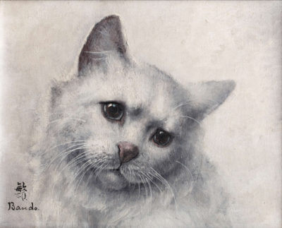 portrait de chat blanc-toshio bandohuile sur toile