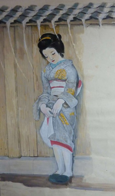Japonaise sous la pluie - Toshio Bando