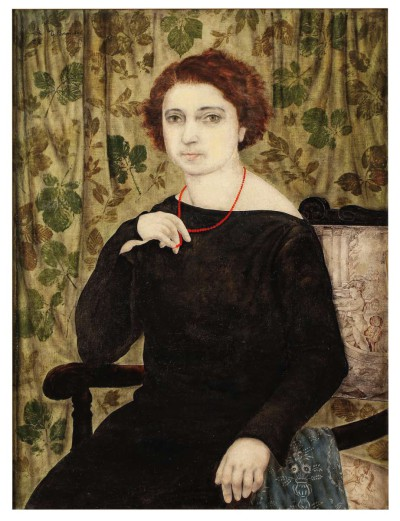Portrait au collier rouge - Toshio Bando
