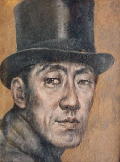 Autoportrait haut-de-forme fond - Toshio Bando