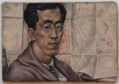 autoportrait et carte du japon - Toshio Bando