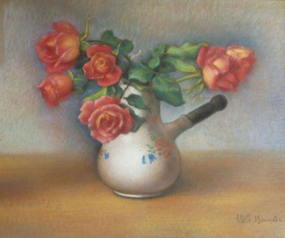 Roses et verseuse de Toshio Bando
