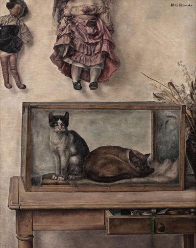 nature morte aux chats et aquarium - toshio bando