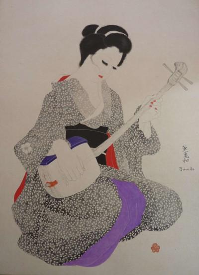 Japonaise a l'instrument de musique - Toshio Bando