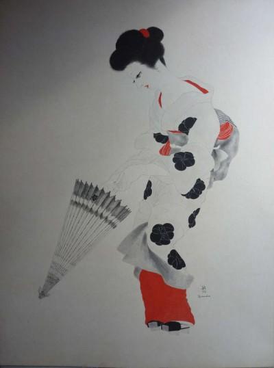 Japonaise à l'ombrelle et au noeud rouge - Toshio Bando