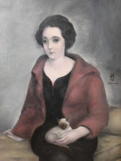 Jeune femme au lacet rouge et chaton - Toshio Bando